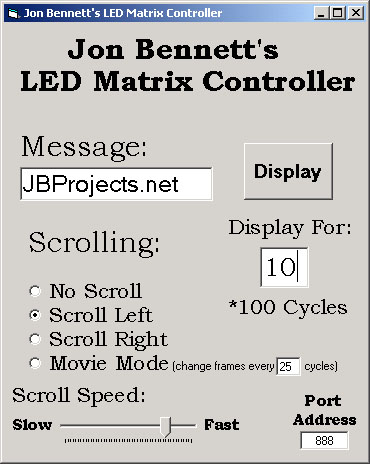 LED Matrix - Computer Controlled - JBProjects net